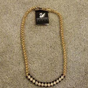Swarovski black enamel and gold crystal necklace